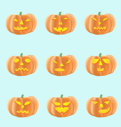 Set of halloween pumpkins with different faces vector