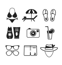 Set of monochrome beach vacations icons in flat vector