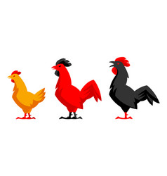 set of variety chicken silhouettes vector image