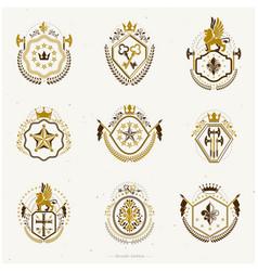 Set old style heraldry emblems vintage vector