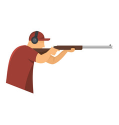 shooter in baseball cap icon flat style vector image