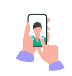 Smartphone in hand concept video call vector