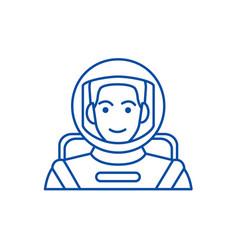 spacemanastronaut in helmet line icon concept vector image