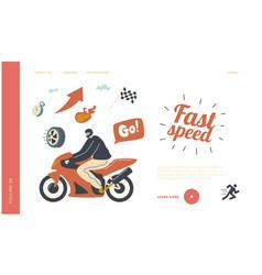 speed racing motocross rally landing page vector image
