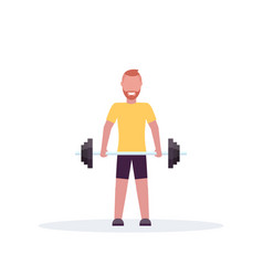 Sporty man lifting barbell with weights vector