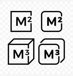 square and cubic meters line icons vector image