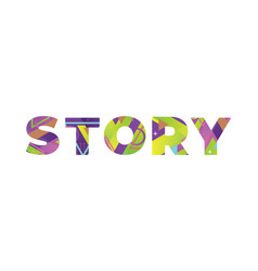 Story concept retro colorful word art vector