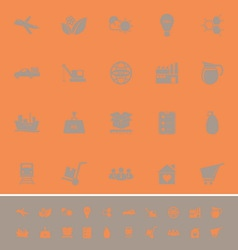 Supply chain and logistic color icons on orange vector image