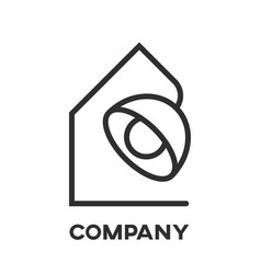 table lamp and real estate logo vector image