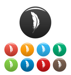 tattoo feather icons set color vector image