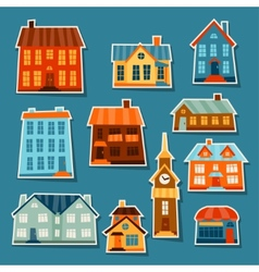 Town icon set of cute colorful houses vector image