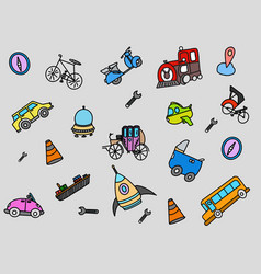 Transportation doodle with color full object vector