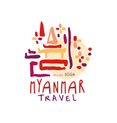 travel to myanmar travel tour operator logo vector image
