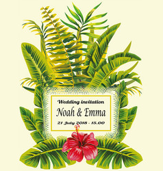 tropical wedding invitation vector image