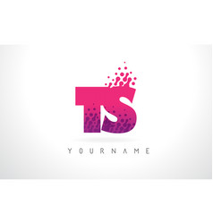 ts t s letter logo with pink purple color and vector image