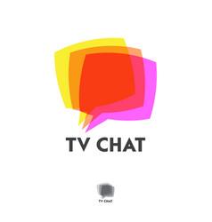 Tv chat logo emblem for app or web forum vector