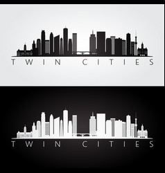 Twin cities usa skyline and landmarks silhouette vector