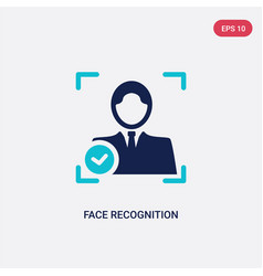 Two color face recognition icon from artificial vector