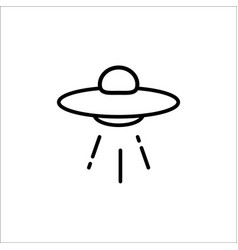 ufo spaceship icon in line style space with vector image
