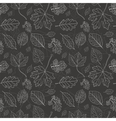 Vintage black background with tree leaves vector image