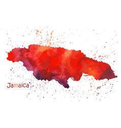 watercolor map jamaica island stylized image vector image