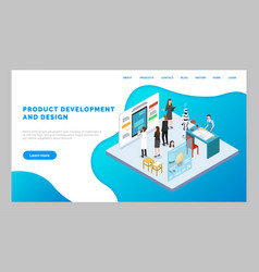 Webpage product development and design mockup vector