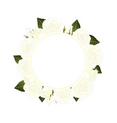 white rose banner wreath vector image