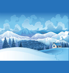 winter mountains snowy landscape with pines forest vector image