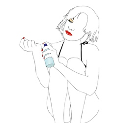 Young woman with perfume vector