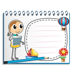 A notebook with a sketch of a young girl at the vector image