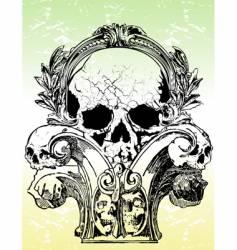 ancient grunge skull illustration vector image vector image