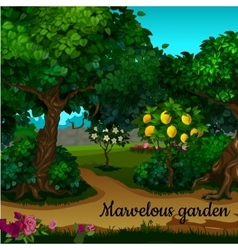 The garden with citrus tree and green trees vector image
