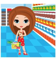 woman cartoon in a supermarket vector image