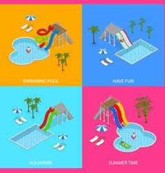 Aqua park concept banner card set isometric view vector