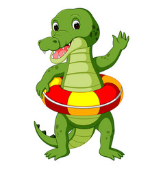cute crocodile using ring ball cartoon vector image