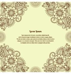 Floral henna indian mehendi background vector image