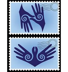 hands post stamp vector image vector image