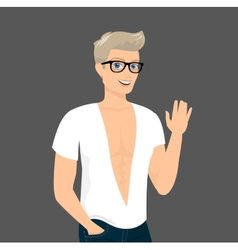 Handsome blond guy close-up vector image