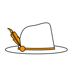 Color silhouette image explorer hat with feather vector