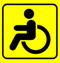 disabled warning sign man in wheelchair black vector image