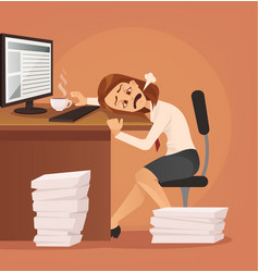 hard work tired unhappy office worker woman vector image