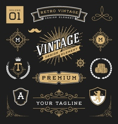 Set of retro vintage graphic design elements vector image vector image