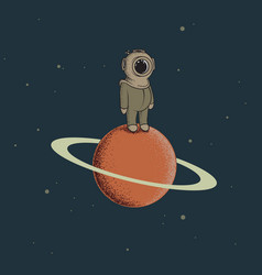 spaceman like a diver standing on the red planet vector image