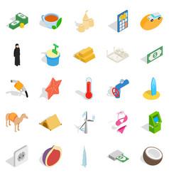 uae icons set isometric style vector image vector image