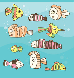 collection of abstract fish on blue background vector image