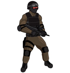SWAT team member FN2000 tan vector image vector image