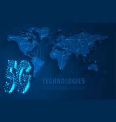 5g global network technology with world map blue vector image