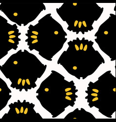 abstract geometric fish grid yellow and black vector image