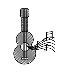 Acoustic guitar with music notes vector