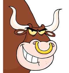 Angry Longhorn Head Looking vector image